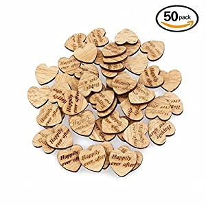 ULTNICE 50pcs Wooden Heart Shaped Log Slices Crafts with Happily Ever After Pattern for Wedding Party Embellishment