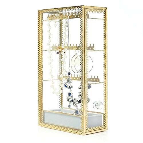 PuTwo Jewelry Box Vintage see-through Brass Edge Jewelry Organizer Jewelry Display for Necklace Earrings Rings Trinkets Jewelry Stand Jewelry Box for Girls on Makeup Vanity Night Stand - gold