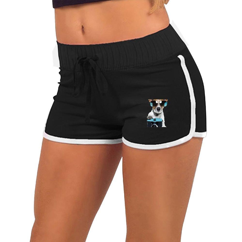 Women's Sexy Shorts Dog with White Blue Camera Puppy Funny Sunglasses Fashion Beach Hot Shorts