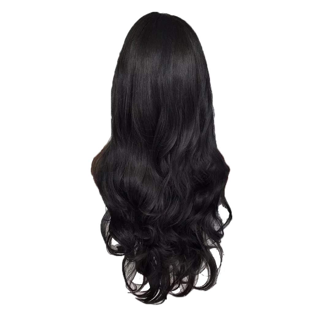 Wig,SUPPION 26inch Women's Fashion Wig Front lace Black Synthetic Hair Long Wigs Wave Curly Wig - Cosplay/Party/Costume/Carnival/Masquerade (A)