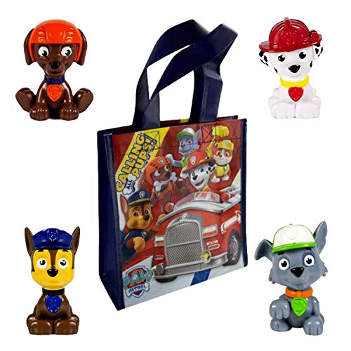Paw Patrol Mini Figures Play Activity Set Carry Tote Bag ~ Favorite Characters Including Rocky, Zuma, Marshall & ()
