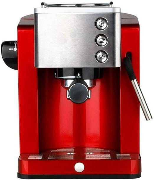 QUANOVO Hogar del Café Express De La Máquina Semi-Automática Cafetera 15BAR Bombeado De Alta Presión De La Leche Vaporizador 1,2 L Tanque De Agua 850W 220V para El Hogar Oficina Y, Rojo: