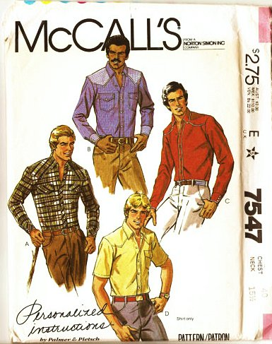 Mens Western Shirt, McCalls 7547 Sewing Pattern Check Offers for Size