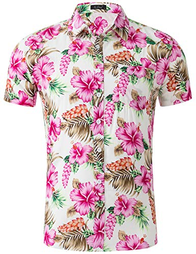 XI PENG Men's Tropical Short Sleeve Floral Print Beach Aloha Hawaiian Shirt (Red White Hibiscus Flower, Small) (White Silk Flowers Hibiscus)