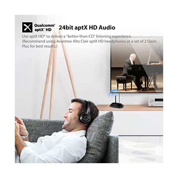 Avantree Oasis Plus Récepteur Émetteur Bluetooth 5.0 aptX HD pour TV, Transmetteur Adaptateur Audio À Faible Latence…