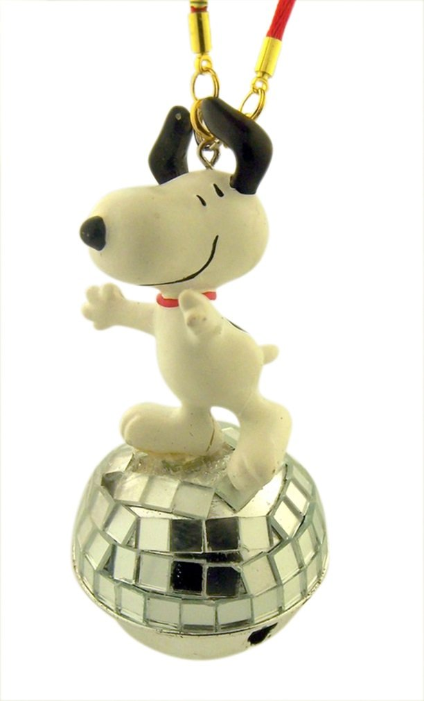 Snoopy Dancing on Disco Ball Jingle Bell Christmas Ornament, 3 1/2 Inch