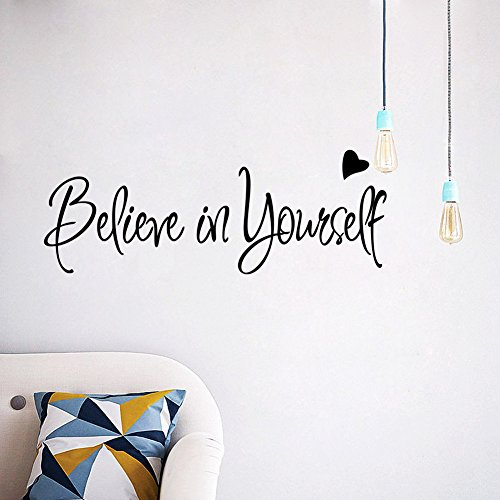 - Amaonm Removable Vinyl Quotes Words Believe in yourself Home Art Decor Wall Decal Sticker Murals Wall Decorations for Babys Bedroom Living Room 8