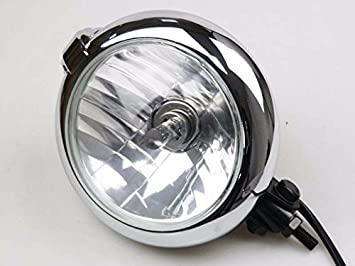 Swell 7 Black Chrome Bates Retro Headlight H4 55 60W For Harley Chopper Wiring Cloud Hisonuggs Outletorg
