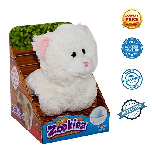 White Cat Plush Toy | Zookiez collection by Toy Target | Stuffed Animal with Patented Paw Design | Snaps Around Crib, Stroller, Chair, (Jumbo White Bunny Kit)