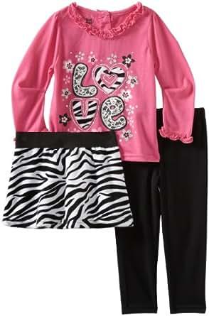 Young Hearts Little Girls' 3 Piece Love Legging Skirt Set, Dark Pink, 3T
