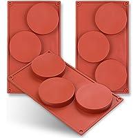 homEdge Molde de silicona con forma de disco de 3 cavidades, 3 paquetes de pastel de discos, Gustard, posavasos de…