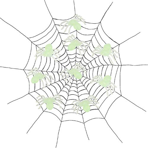 GUTTEAR Halloween Spider Toy (one) Green (Luminous) Plastic Spider Trick Toy Party Halloween Haunted House Prop Decor GN]()