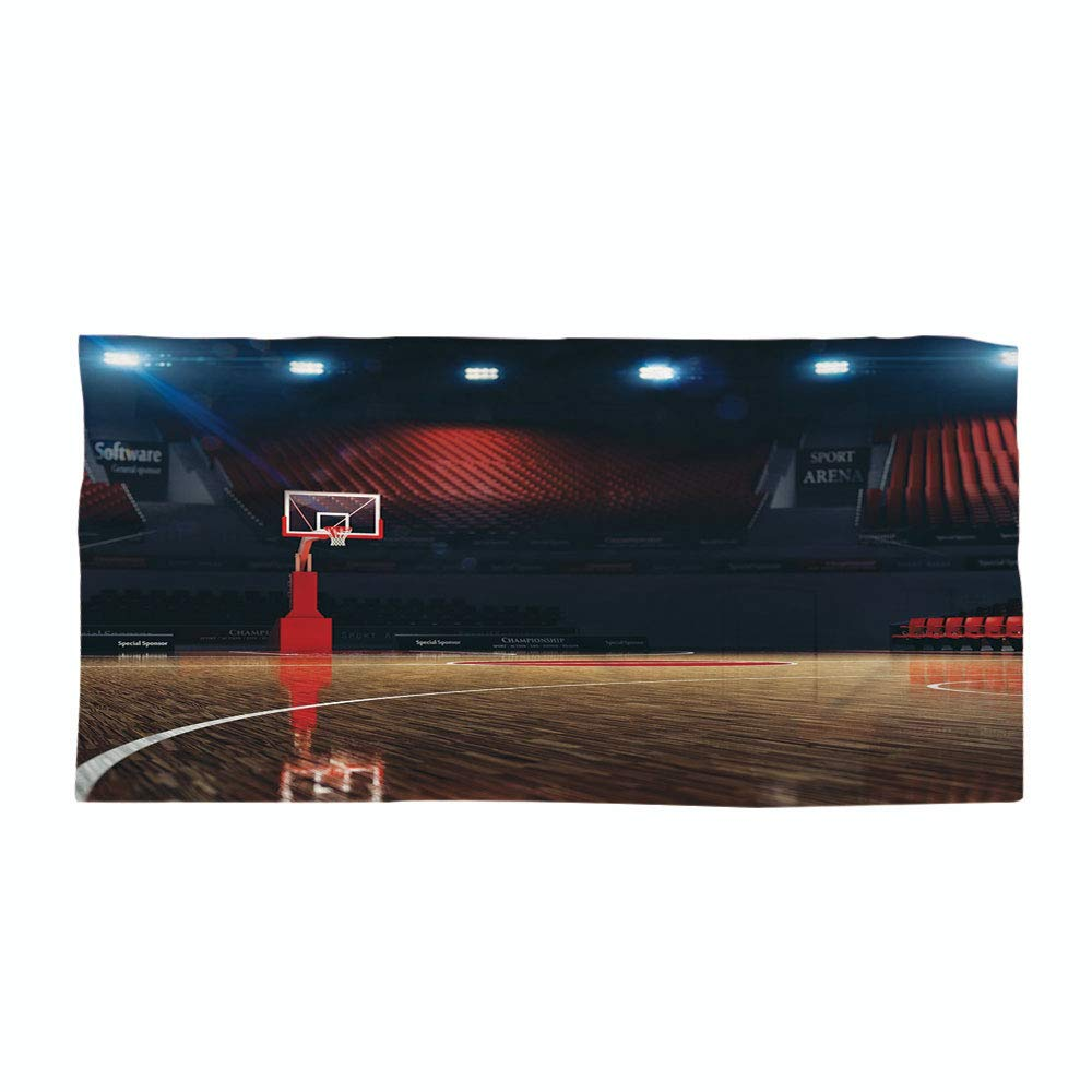 Cotton Microfiber Beach Towel,Sports Decor,Picture of Empty Basketball Court Sport Arena with Wood Floor Print,Brown Black Red,for Kids, Teens, and Adults