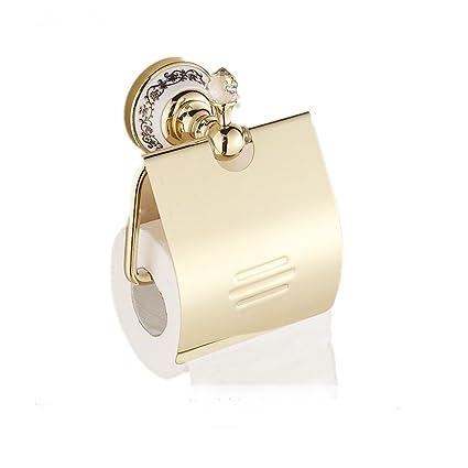 Sanlucky Rollo De Papel Titular Europeo Cristal Cobre Oro Toalla De Papel Titular Baño Baño De