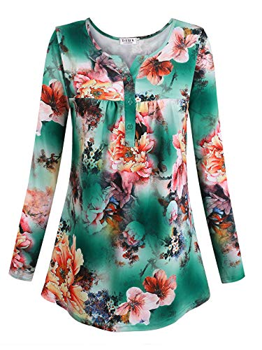 Tunics for Women Long Sleeve,DSUK Womens Long Sleeve V Neck Pleated Tunics Soft Classical Flowered Pattern Attractive Tops Leisure Mixed Trapeze Stretch Lightweight Shirts Green Large