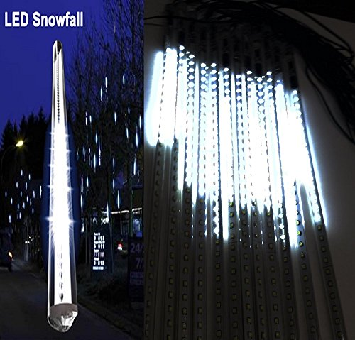 20 Inches Linkable Snow White LED Snowfall Lights Double Sided Waterproof Transformer 16ft Wire Extension Set of 12, Link up to 3 Sets of 12 Tubes by LEDJUMP