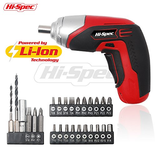 Hi-Spec 3.6V Cordless 1300mAh Lithium-ion Battery 4-LED Power Screwdriver with 26 Piece Screw & Wood Drill Bit Set for DIY Screwdriving, Repairs, Assembly in the Home, Office, and Workplace -