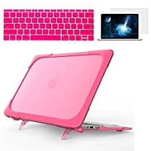 Ivos Heavy Duty Slim Rubberized See-Through Shockproof Plastic Hard Shell Cover Case with TPU Bumper, Kickstand and Keyboard Cover Screen Protector for MacBook Air 11 11.6 inch A1370 A1465 - Hot Pink