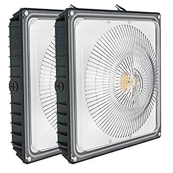Image of Bay Lighting 2 Pack 35W LED Canopy Light - Moobibear 170W HPS/HID Replacement, 4150lm 5000k Daylight White 8' x 8', UL Listed and DLC Qualified Waterproof Carport Lights for Playground Gym Warehouse Garage