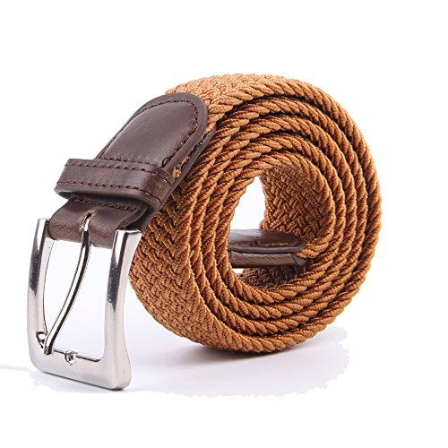 Canvas Elastic Fabric Woven Stretch Multicolored Braided Belts 2041-Brown-XL ()