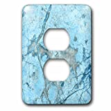 3dRose Uta Naumann Faux Glitter Pattern - Image of Luxury Chic Trendy Ice Blue Veins Agate Gemstone Geode Quartz - Light Switch Covers - 2 plug outlet cover (lsp_275230_6)