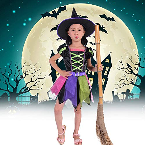 4t Witch Costume (Suppromo Witch Costume for Girls Kids Halloween Witch Costumes with Hat, Witch Dress Up Outfit)