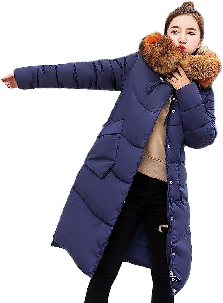 GREFER Women Long Jacket Winter Warm Faux Fur Hooded Thick Slim Down Padded Parka Overcoat Coat