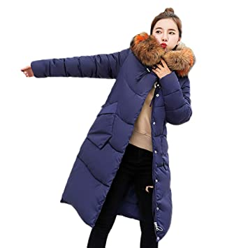 fb0b895763 LSAltd Doudoune Longue Manteau Femme Zippé Amincissant épais Chaud avec Col  Fourrure Comfortable avec Capuche Longue