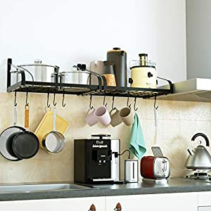 Love-KANKEI Pot Rack Wall Mounted - Pan Pot Organizer with 16 Hook for Cookware Utensils at Kitchen 16.5 x 12 inch/Set of 2