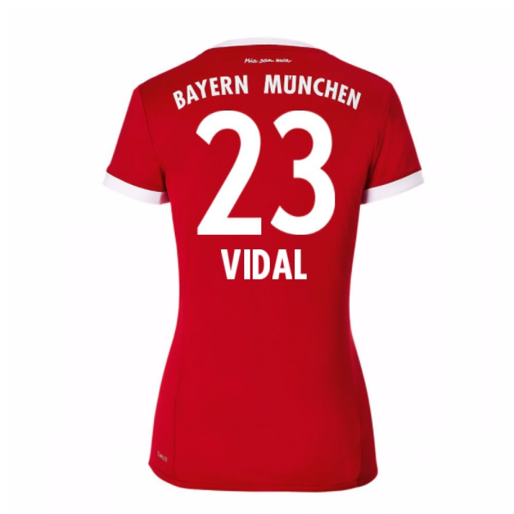 2017-18 Bayern Munich Home Damenschuhe Football Soccer T-Shirt Trikot (Arturo Vidal 23)