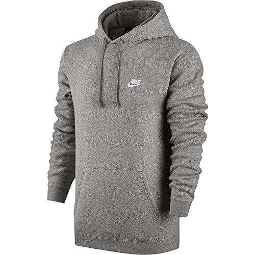 NIKE Sportswear Mens Pullover Club Hoodie, Light Grey Heather/Light Grey Heather/White, Large