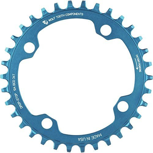 Wolf Tooth Components Drop Stop Chainring Blue, 34T/104 BCD by Wolf Tooth Components