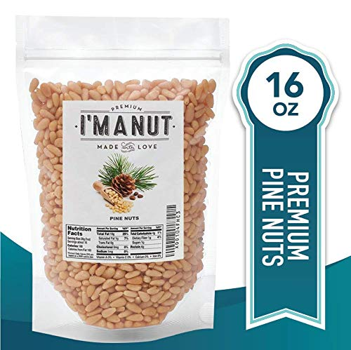 Raw Pine Nuts 1 LB (Whole and Natural) NO PPO, Steam Pasteurized , Great for Pesto, Salads, or Roasting,- By I'M A NUT (Pine Flour Nut)