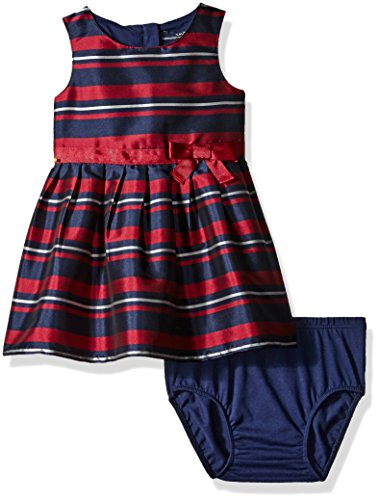 Nautica Baby Stripe Taffeta Dress with Grosgrain Sash, Navy, 12 (Navy Blue Taffeta Dress)