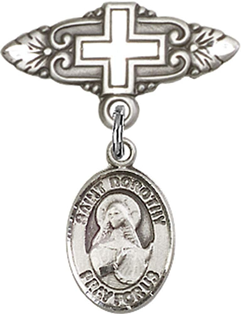 Dorothy Charm and Badge Pin with Cross Made In USA Sterling Silver Baby Badge with St Jewels Obsession Baby Badge with St Dorothy Charm and Badge Pin with Cross
