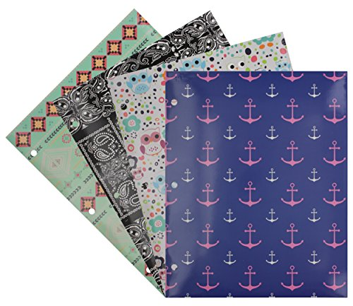 Emraw Laminated Fashion Trend 2 Pocket File Portfolio Folder - Used for Papers, Loose-Leafs, Business Cards, Compact Discs, Etc. (4-Pack)
