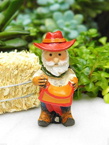 My Fairy Gardens Miniature - Wild West WESTERN Cowboy Gnome with Saddle - Mini Dollhouse Supply - Western Miniature