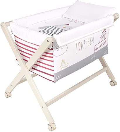Minicuna plegable desenfundable patas madera blanco (50 x 80 ...