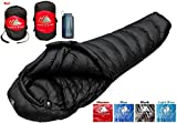 Ultralight Mummy Down Sleeping Bag - 15 Degree 4 Season, Lightweight Design for Bike Packing, Cold Weather Hiking and Camping - Includes Compression Sack (Black, Regular)