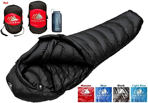 Ultralight Down Mummy Sleeping Bag (Ultralight Mummy Down Sleeping Bag - 15 Degree 4 Season, Lightweight Design for Backpacking, Thru Hiking, and Camping - Includes Compression Sack (Maroon, Regular))