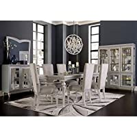 Aico Amini Melrose Plaza 7 Piece Dining Set - Table, 2 Arm, 4 Side Chairs in Dove Grey