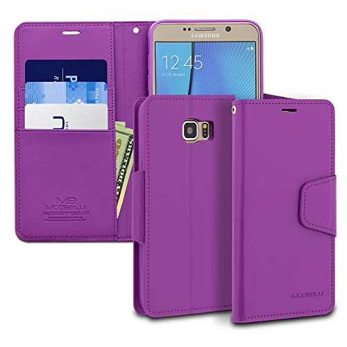 Galaxy Note 5 Case, ModeBlu [Classic Diary Series] [Purple] Wallet Case ID Credit Card Cash Slots Premium Synthetic Leather [Stand View] for Samsung Galaxy Note 5