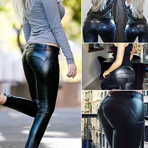 Faux Leather Pu Elastic Shaping Hip Push Up Pants Black