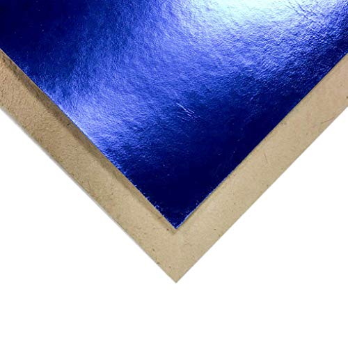 Genuine Leather Metallic Leather Fabric (Royal Blue, 5x5In/ 12x12cm)