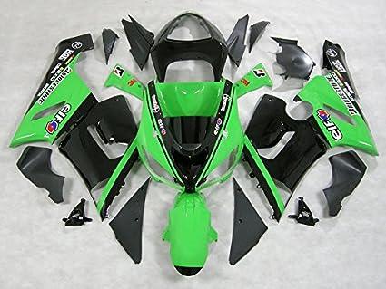 Moto Onfire ABS Plastic Fairing Kits with Full Fairing Bolts For Kawasaki ZX6R ZX-6R Ninja 636 2005 2006 (Green Black)