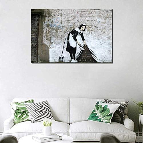 YuanMinglu Ama de casa Barrido Lienzo Debajo de la Alfombra Imagen Arte de la Pared Pintura al óleo decoración Moderna decoración del hogar Obra de Arte Pintura sin Marco 60x90cm: Amazon.es: Hogar