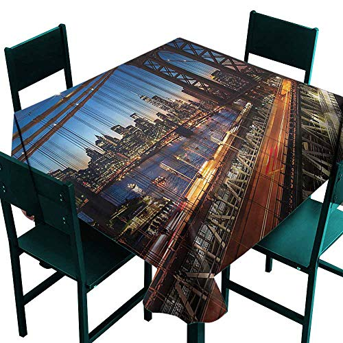 DONEECKL Polyester Tablecloth NYC Brooklyn Bridge Over The River Picnic W60 xL60
