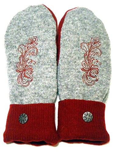 Integrity Designs Sweater Mittens, 100% Wool, Gray and Red Color with Polar Fleece Lining, Adult Size Large, Super Thick, Rosemaling Folk Art Motif Embroidery, Contrasting Button
