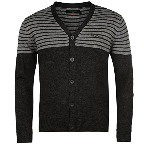 Pierre Cardin Stripe Panel Cardigan Mens gris clair et gris foncé