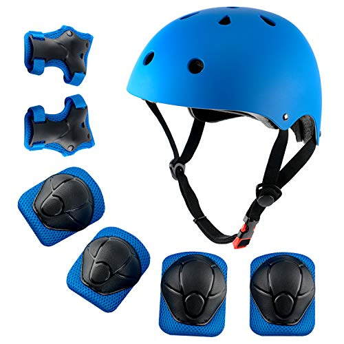 shuangjishan Child Multi-Sport Helmet with Knee Pads Elbow Wrist Protection Set for Skateboard Cycling Skate Scooter Blue ()